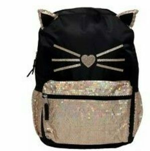 Gold and black sequin cat backpack
